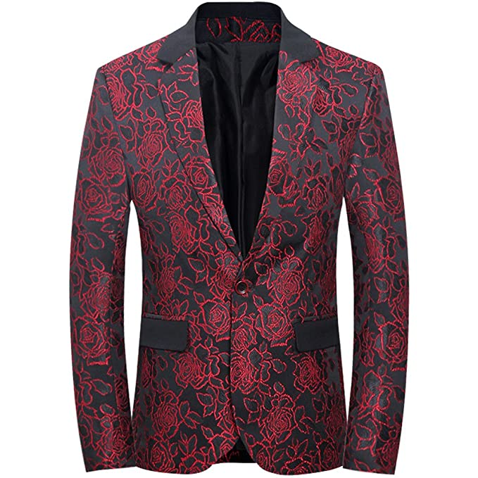 df1f94781448 Mens Slim Fit Casual Floral One Button Blazer Jacket  Amazon.ca ...