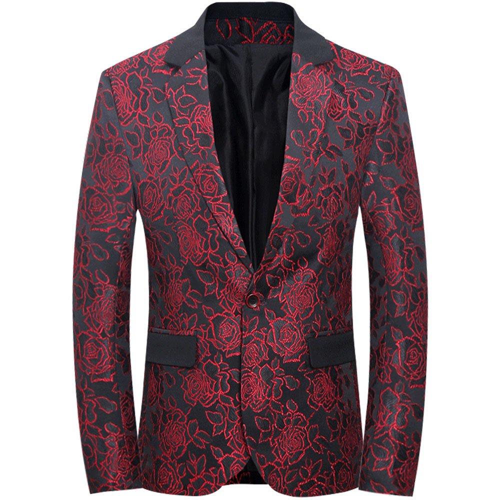 CCXO Mens Slim Fit Casual Floral One Button Blazer Jacket (XXXXXL, Red)