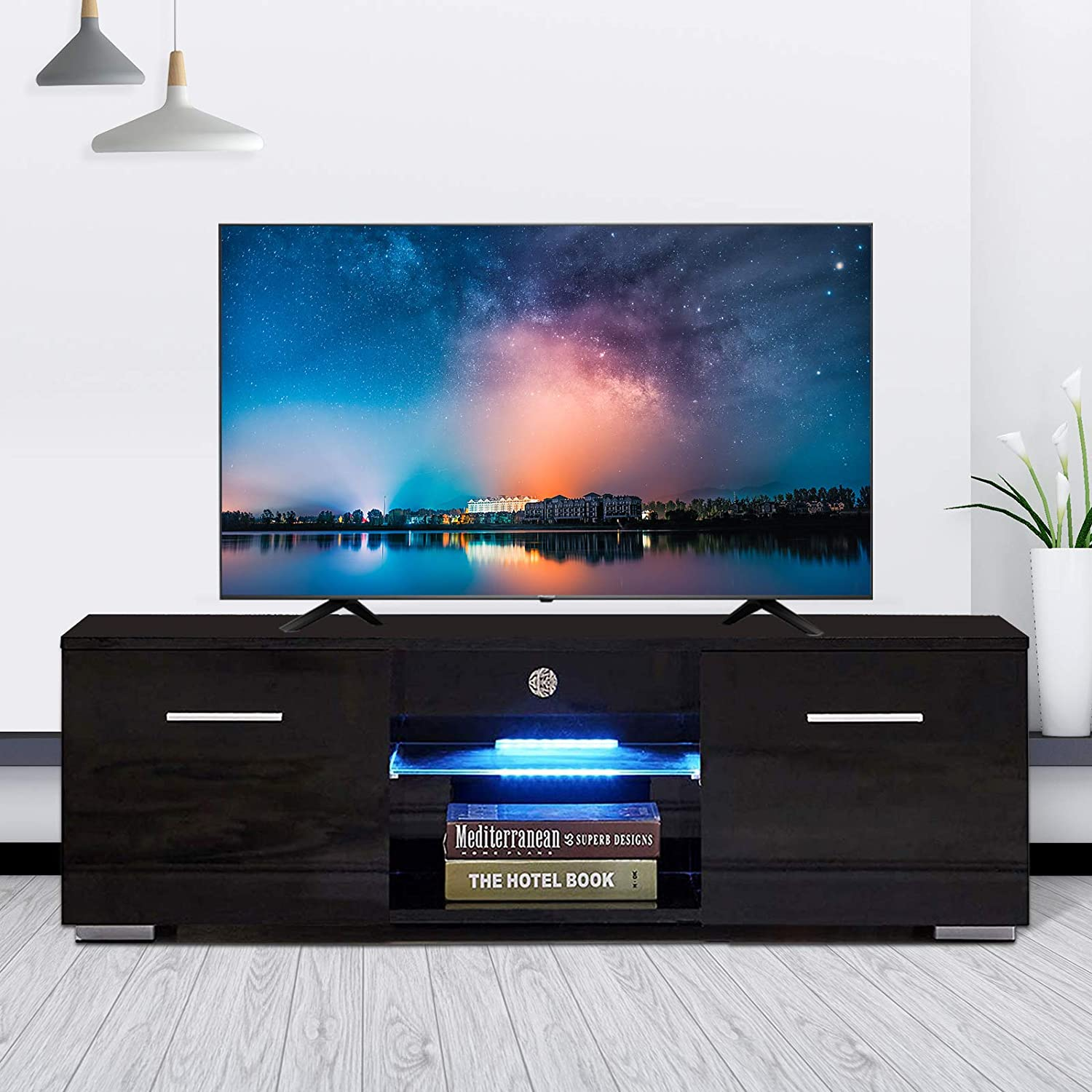 High Gloss Tv Stand With Led Lights Modern Tv Stand For 50 In Tv Console Storage Cabinet With 2 Drawers For Living Room Black Furniture Decor