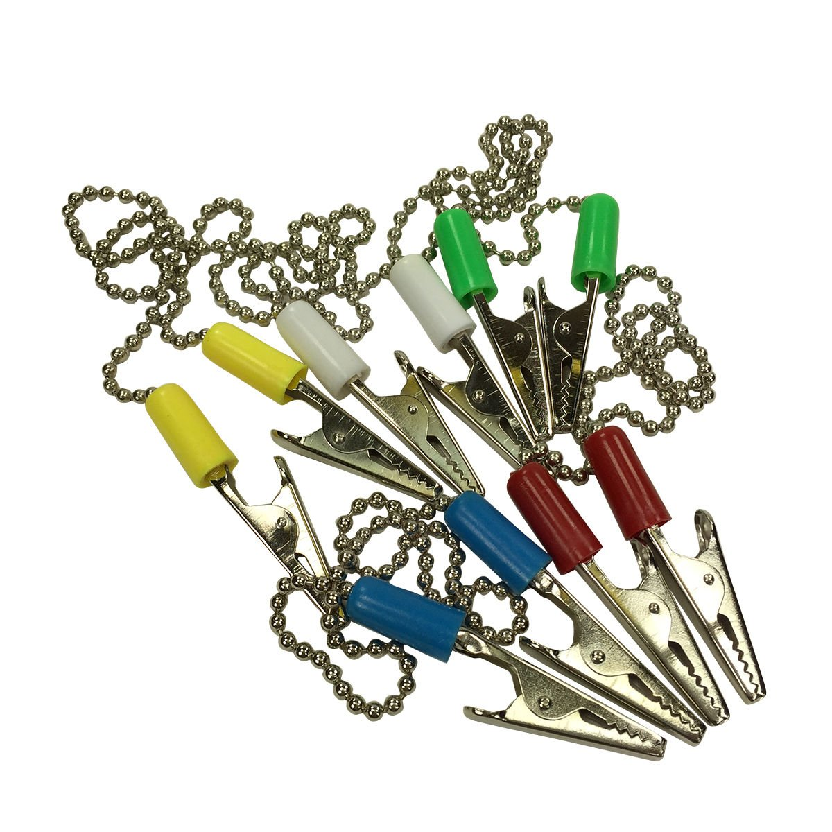 5* Dental Patient Bib Clips Chains Napkin Holder Flexible metal chain colorful