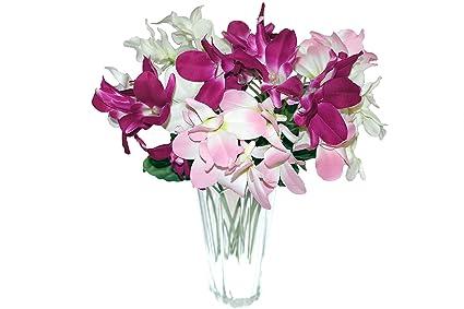 Amazon Com Artificial Flower Arrangement 9 Head Mini Orchid For