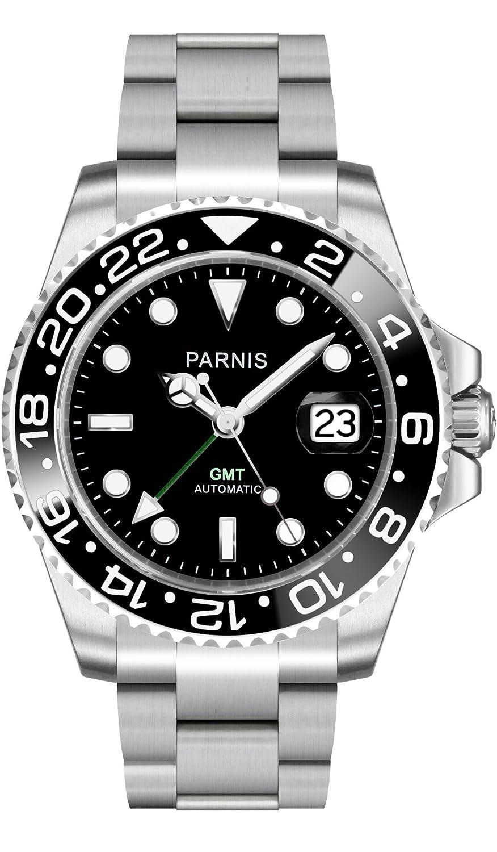 PARNIS Automatik-Armbanduhr 2034 BRAND GMT-Uhr fÜr Herren mit Saphirglas - Edelstahl-Armband und zwei Zeitzonen in 40mm -