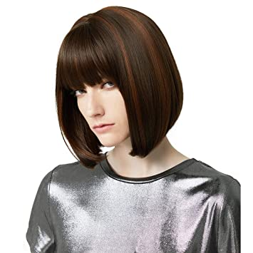 11/'/' Short Straight Cut with Long Bangs Auburn Brown Cosplay Wig NEW