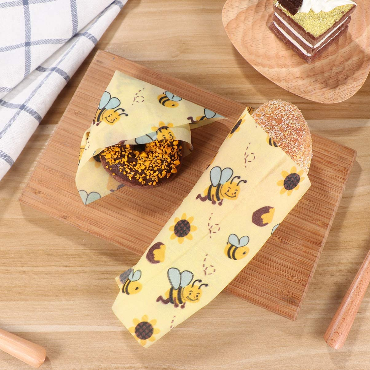 Include 2 Piccoli,2 Medi,1 Grande Hemoton Involucri di Cera dApi Riutilizzabile Confezione da 5 Beeswax Wrap Involucro Ecologico per la Conservazione Sandwich per la Conservazione degli Alimenti