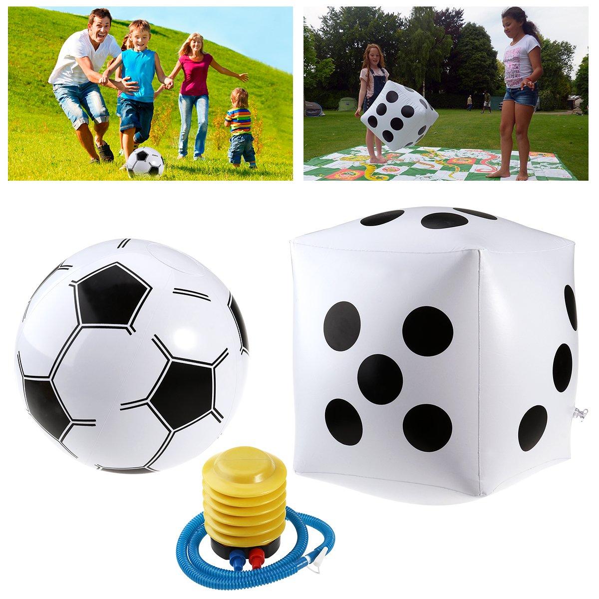 YeahiBaby Dé gonflable géant de 38cm + boule de football de 23cm + pompe de gonflage, jeux de partie de famille
