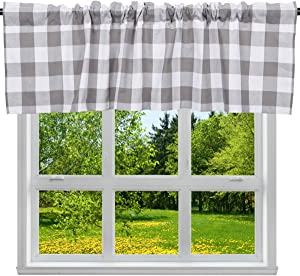 "2 Pack Buffalo Check Plaid Cotton Window Valances White and Grey Farmhouse Design Window Treatment Lined Decor Curtains Rod Pocket Valances for Kitchen/Living Room 16"" x 56"""