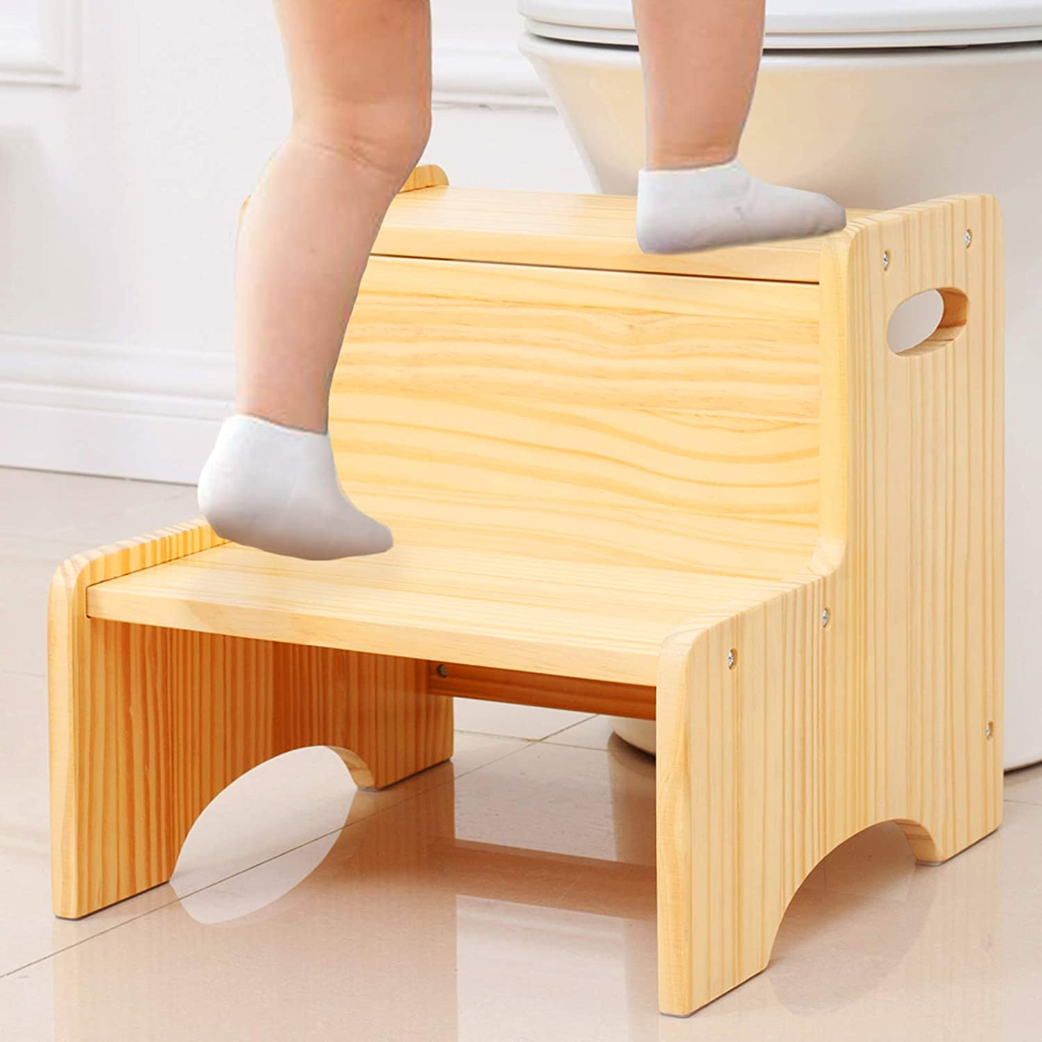 WOOD CITY Toddler Step Stool for Kids, Wooden Two Step Children's Stool with Handles, Bonus Non-Slip Pads for Safety, Bathroom Potty Stool & Kitchen Step Stools, Pine Wood