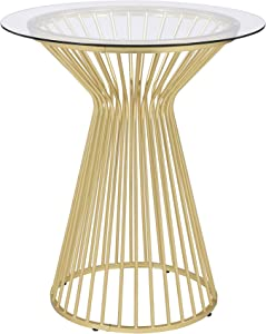 Coaster Home Furnishings Round Glass Top Matte Brass and Clear Bar Table, 36