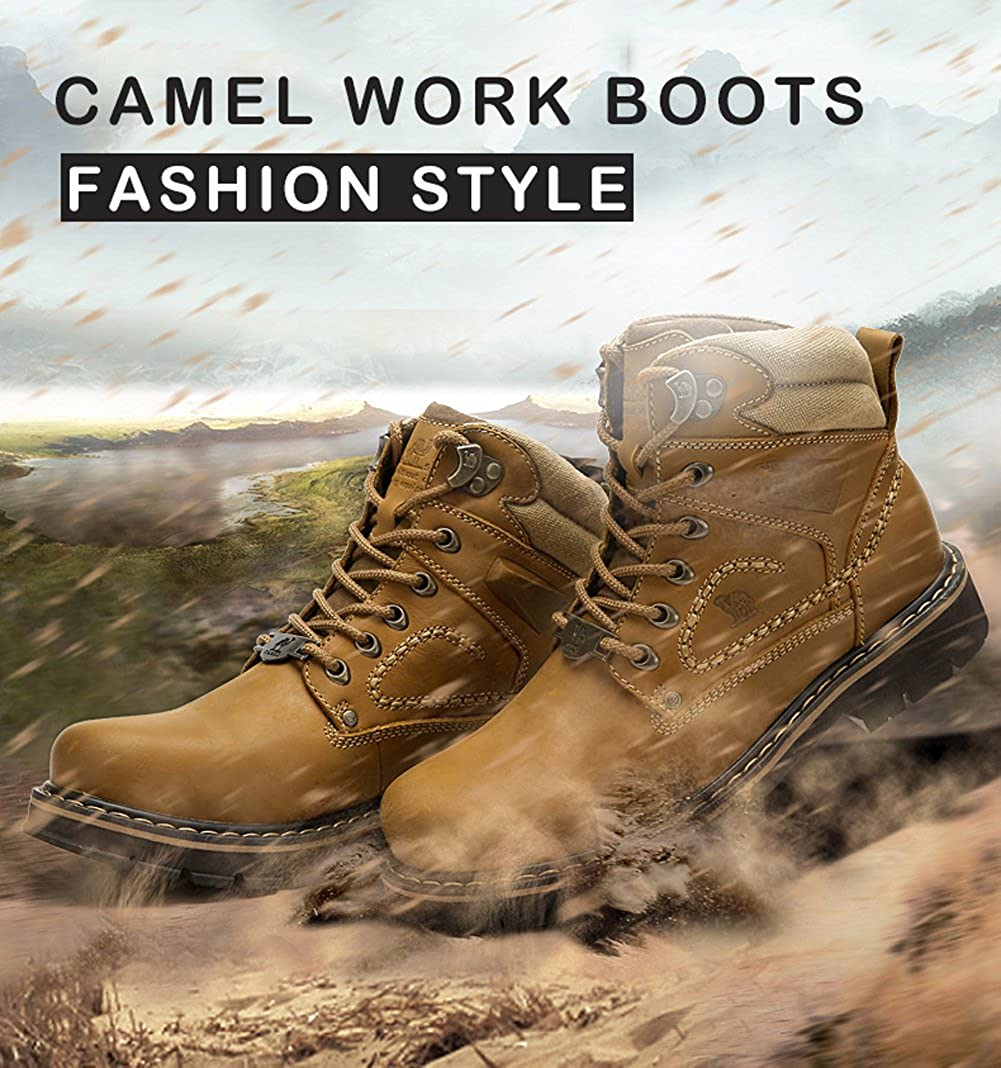 Camel Crown Mens Work Boots Round Toe Leather Insulated Construction Non-Slip Work Shoes High Top Work Safety Shoes Comfortable Martin Boots Casual Shoes