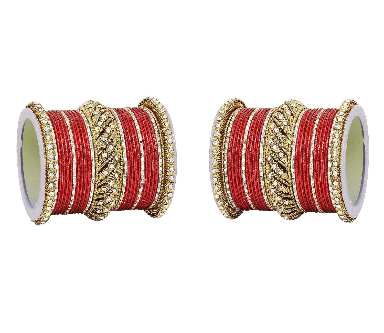 Ratna Bollywood Antique Indian Gold Crystal Stone Made 50 Pcs Wedding Bridal Bangles Pair Set Jewelry