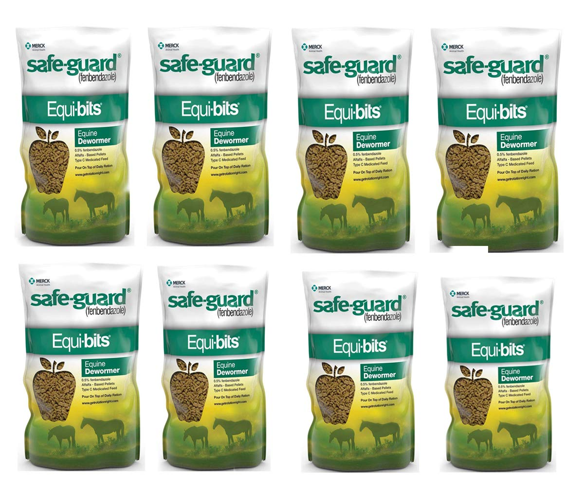 Equibits Equine Dewormer Pellets for Horses - Veterinaty Medications, Supplements and Supplies with 0.5% Fenbendazole - Animal Health Care (8 Pieces)