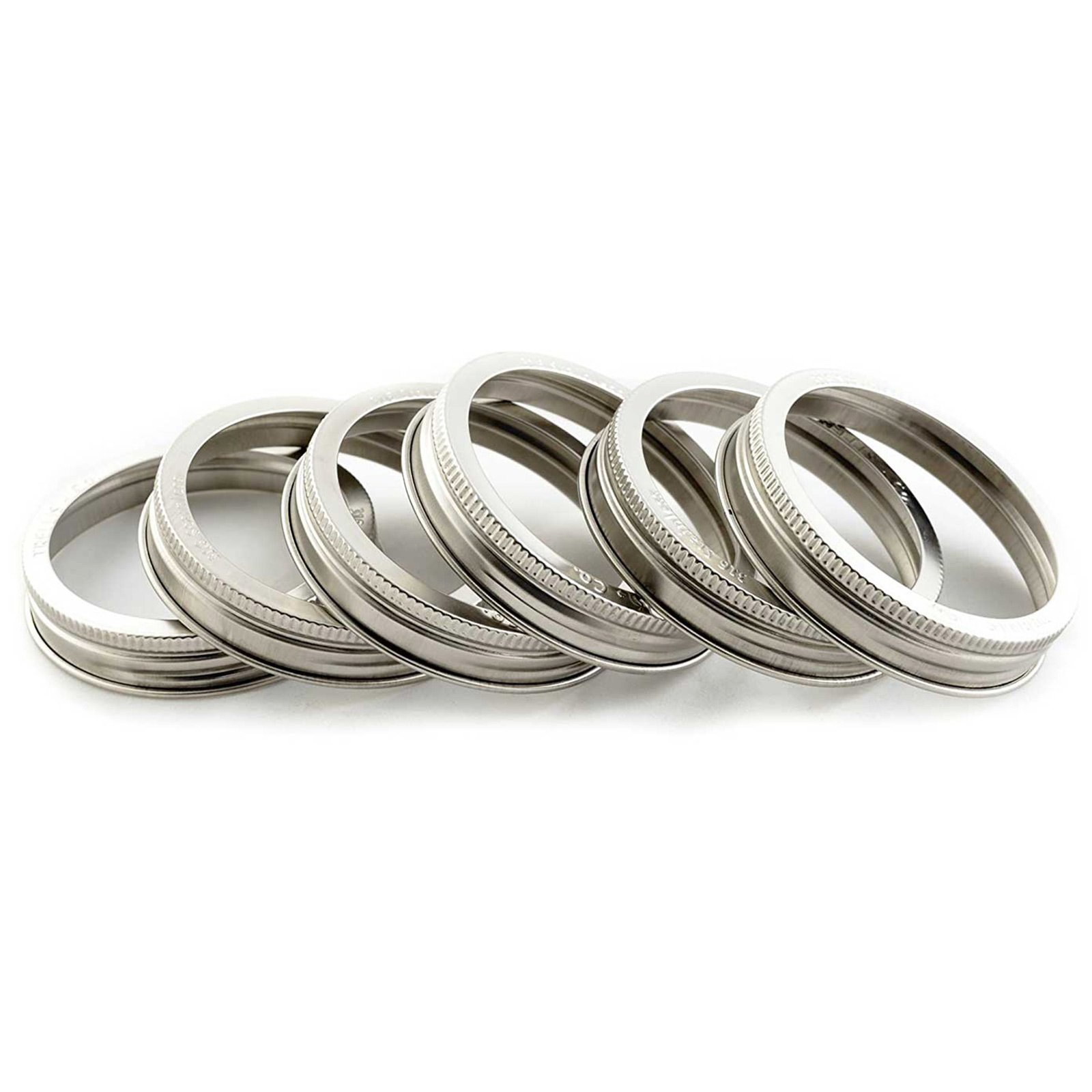 T&Co. STAMPED Stainless Steel Wide Mouth Mason Jar Replacement Rings/Bands/Tops - Durable & Rustproof - Set of 6 - For Pickling, Canning, Storage