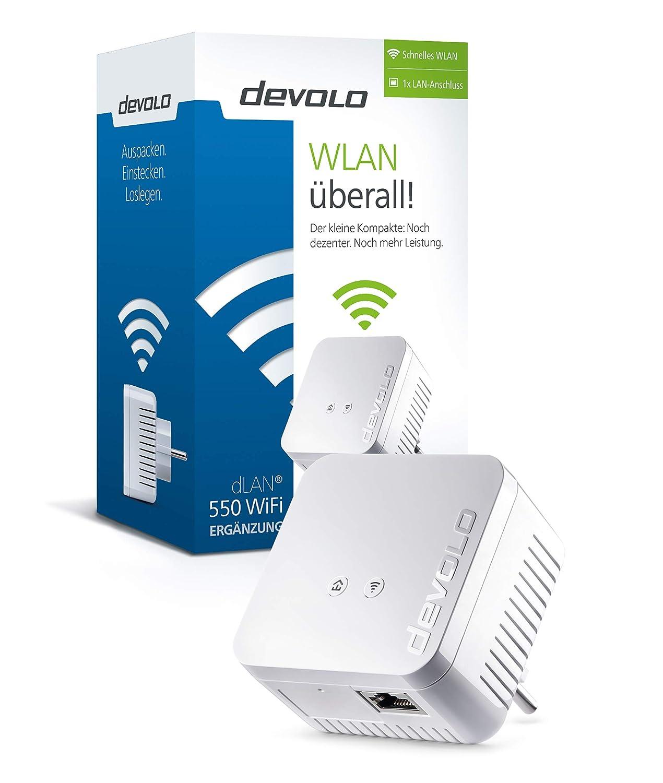Devolo dLAN 550 WiFi (Internet de 500 Mbit/s a través de la red eléctrica, 300 Mbit/s a través de WiFi, 1 puerto LAN, 1 adaptador Powerline, adaptador de ...