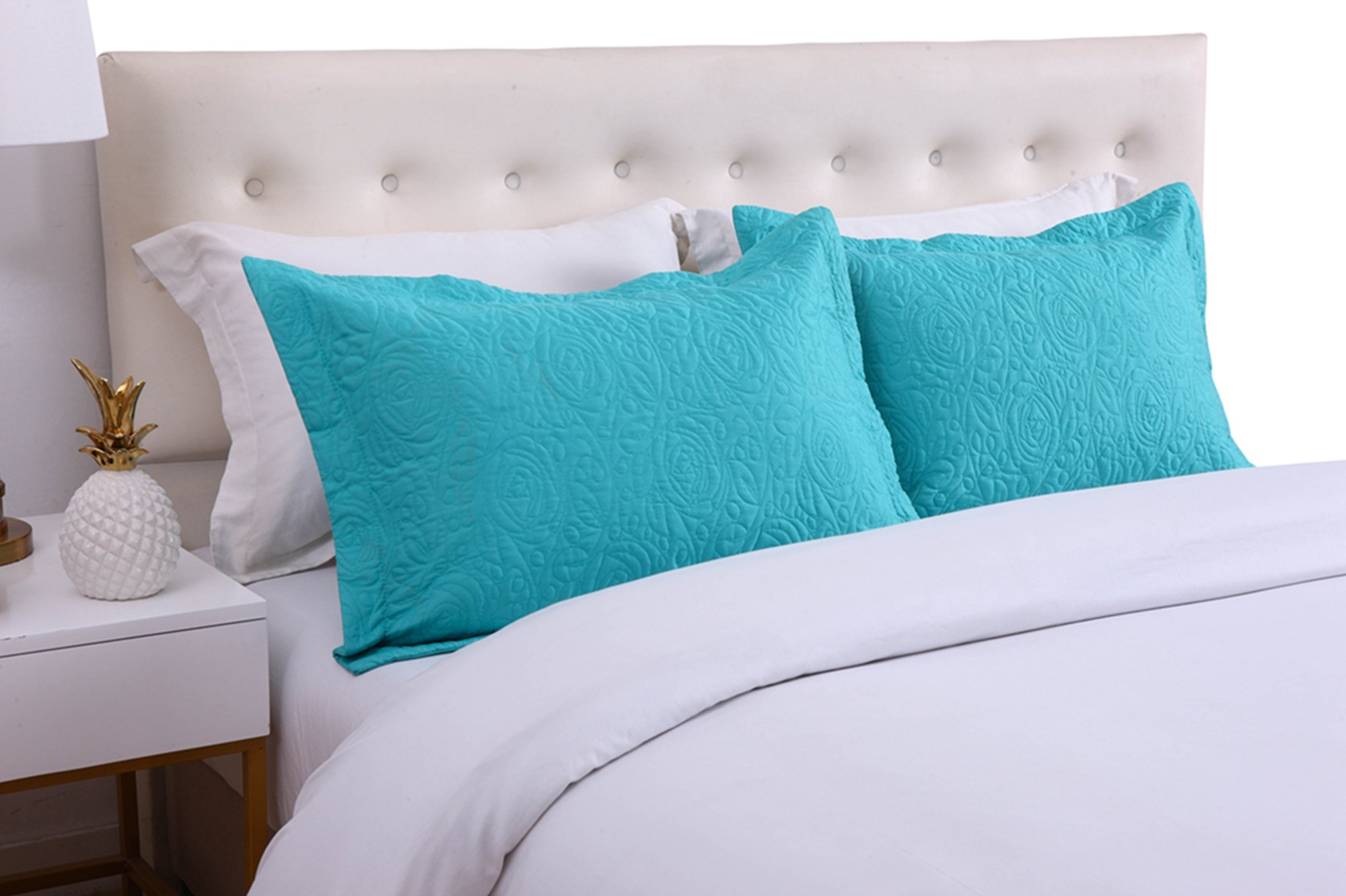 MarCielo 2-Piece Embroidered Pillow Shams, King Decorative Microfiber Pillow Shams Set, King Size (Turquoise)