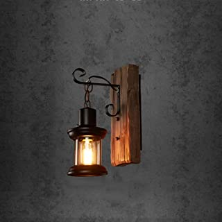 Lampada da parete RFJJ Applique da parete moderna del ristorante della lampada di parete interna del bar Lampada da parete di legno d'annata creativa di illuminazione