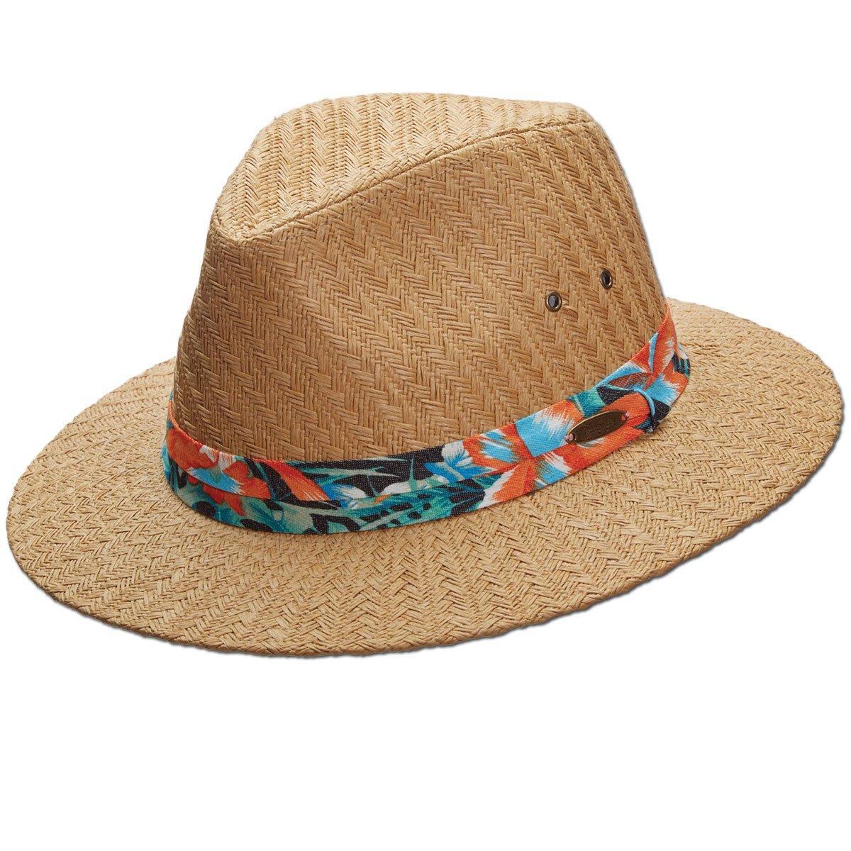 4b0ac9fc0 Panama Jack Tropical Ribbon Matte Toyo Straw Safari Sun Hat, 2 3/4