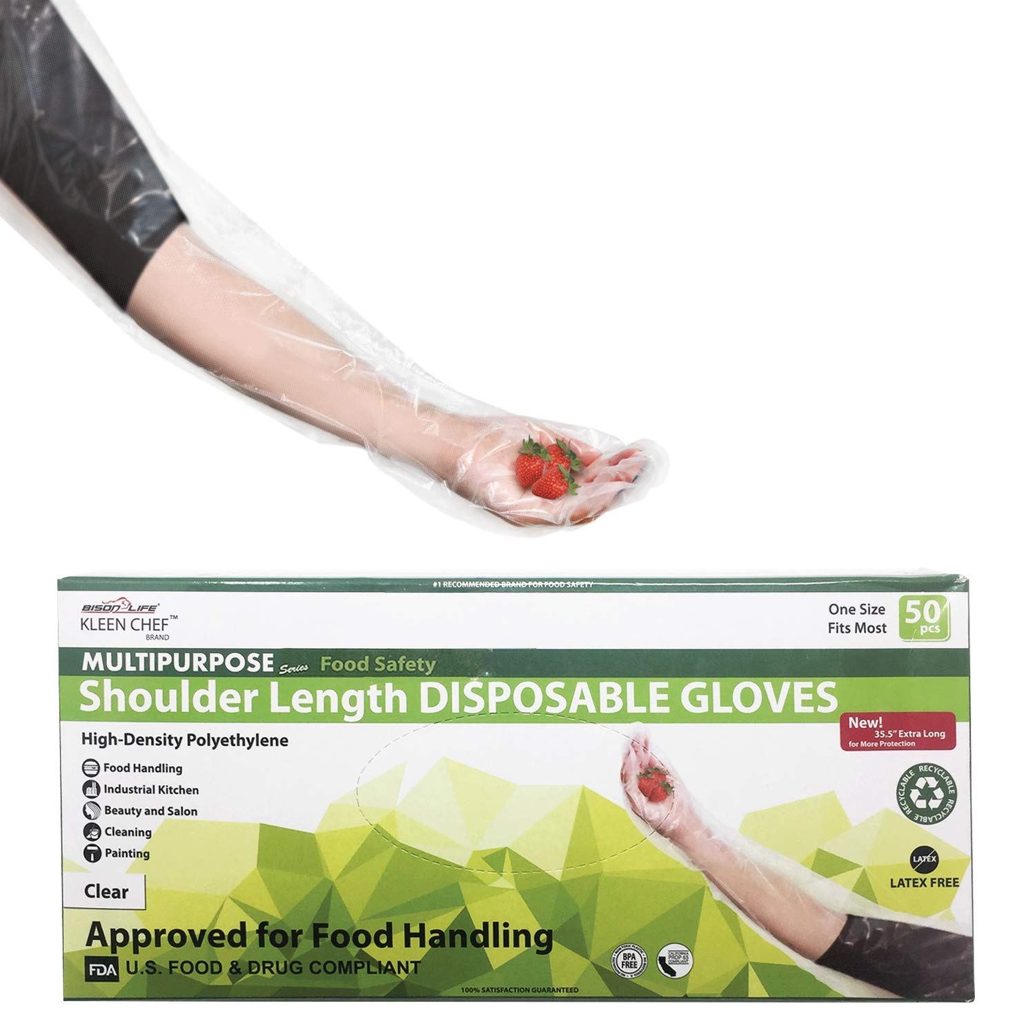 Disposable Food Handling Shoulder Length Poly Gloves - One Size Fits Most, 50 per box (1 box)