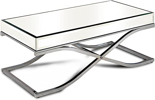 Furniture of America Luxy Mirror Panel Coffee Table, Chrome