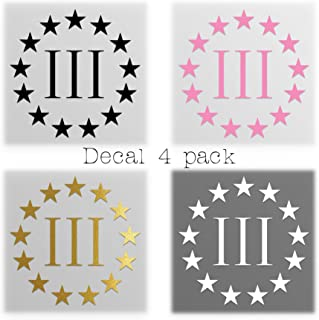 product image for Keen Three Percenter Vinyl Decals Stickers(4 Pack!!!) - 2nd Amendment - Molon Labe |White,Black,Pink,Gold|4-4 in Decals|KCD397