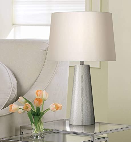 Modern Table Lamp Silver Leaf Hammered Metal Cylinder Off White Fabric Drum Shade for Living Room Family Bedroom – 360 Lighting