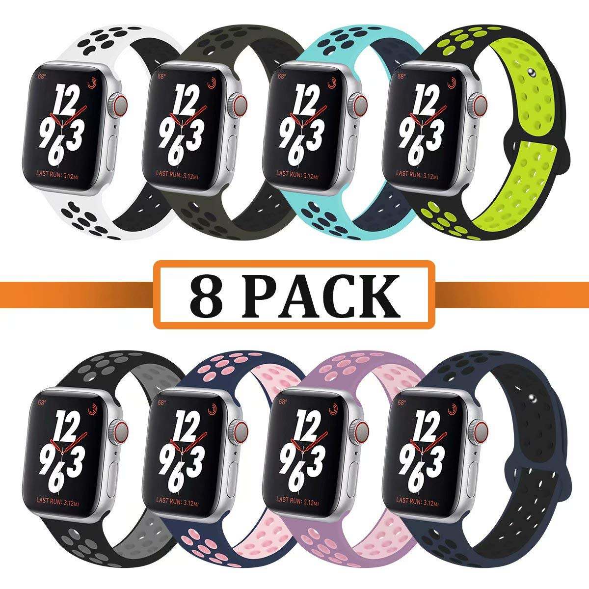 YC YANCH Greatou Compatible for Apple Watch Band 38mm,Soft Silicone Sport Band Replacement Wrist Strap Compatible for iWatch Apple Watch Series 3/2/1,Nike+,Sport,Edition,S/M,8 Pack