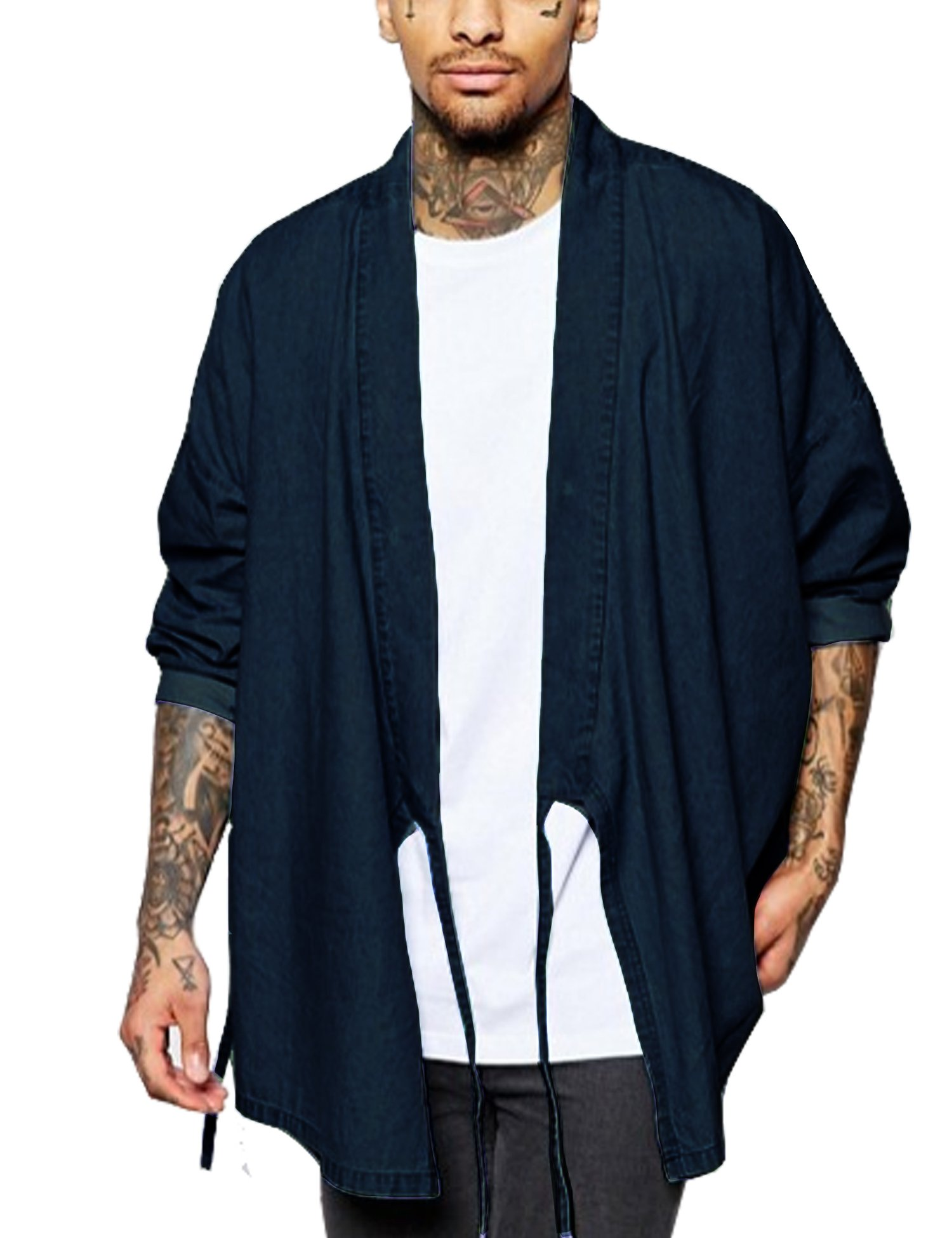COOFANDY Mens Cardigan Kimono Casual Long Sleeve Loose Fit Denim Open Front Cape Cloak,Dark Blue,Large