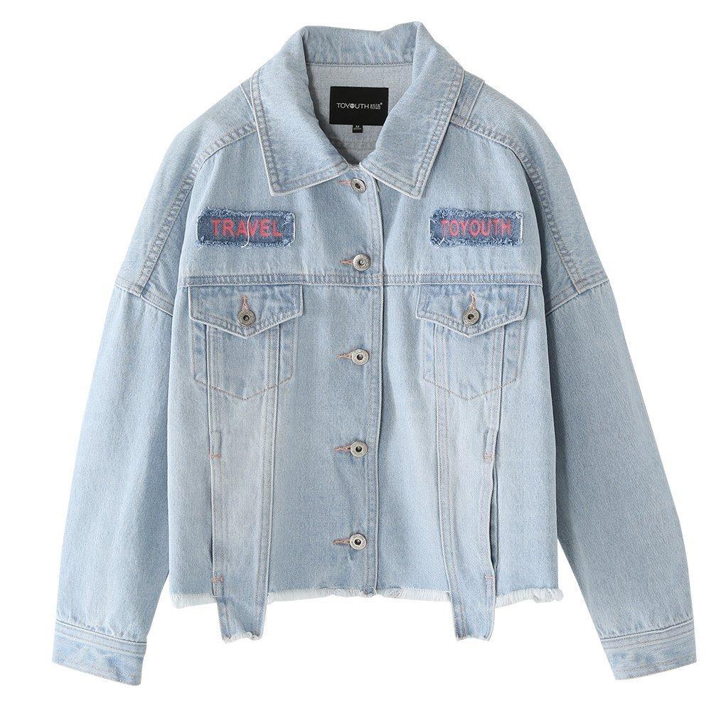 Toyouth Women's Juniors Fashion Look Long Sleeve Denim Jean Jacket XL