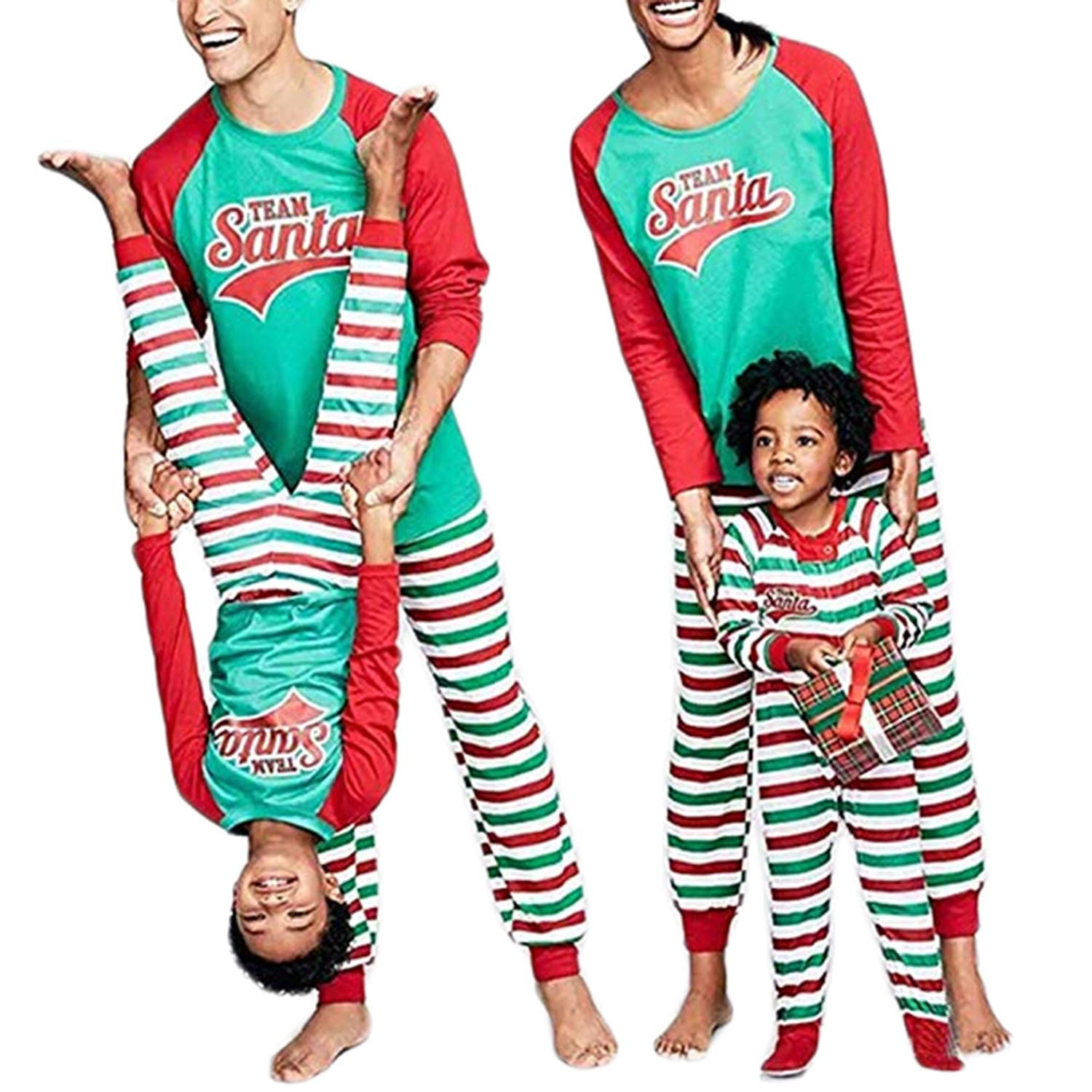 WIFORNT Family Christmas Pajamas Set Santa Letter Print Tops Striped Pants Outfits