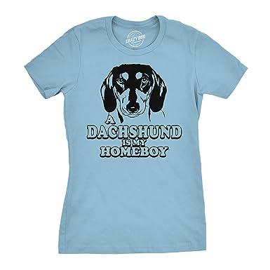 878c1cadf Women's Dachshund is My Homeboy T Shirt Ladies Weiner Dog Lover Gift Tee  (Blue)