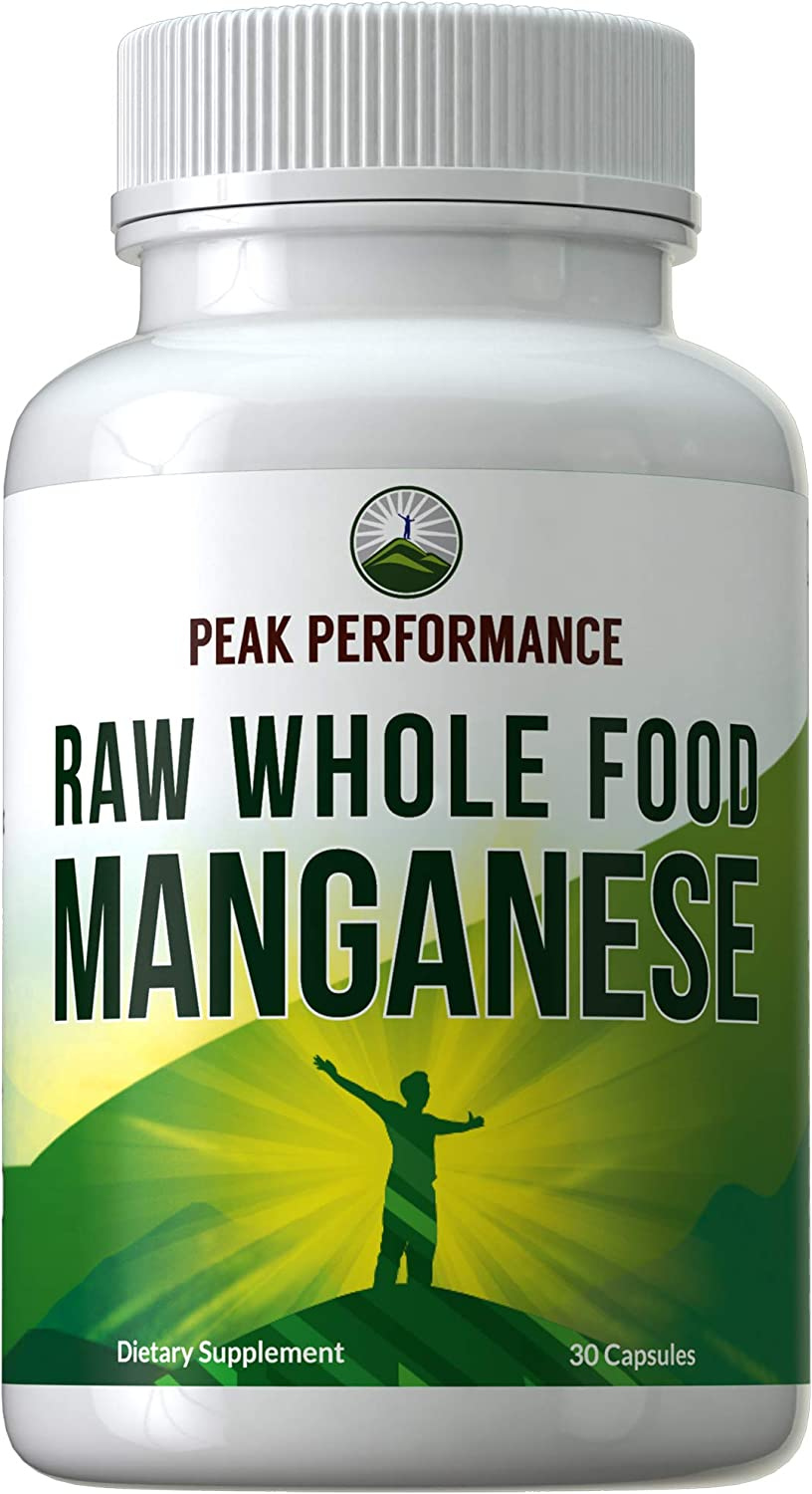 Raw Whole Food Manganese Supplement - Pure Trace Mineral Capsules for Connective Tissue, Bone Health and Enzyme Support. Blended with 25+ Organic Vegetables and Fruits. Superior Absorption. 30 Pills