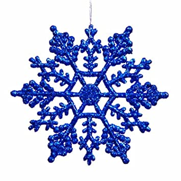 Amazon.com: Club Pack of 24 Lavish Blue Glitter Snowflake ...