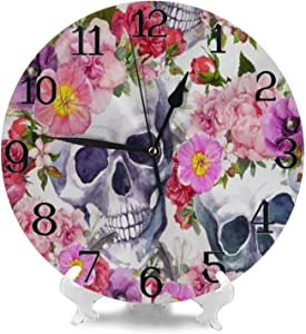 Wall Clock Large Floral Skull Flower Non Ticking Kitchen Bedroom Bathroom Wall Clocks Battery Operated Silent Outdoor Desk Cute Clock Living Room Decor for Kids Womens