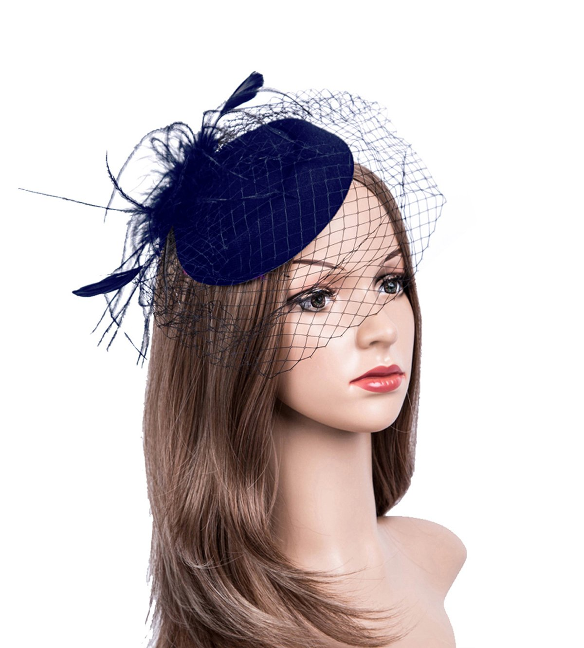 Fascinators Hats 20s 50s Hat Pillbox Hat Cocktail Tea Party Headwear with Veil for Girls and Women (B-Navy)