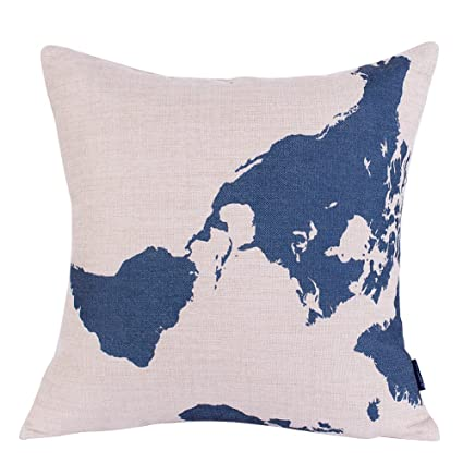 Amazon.com: BETTERLIFE World Map Cushion Pillow Cover Vintage Home ...