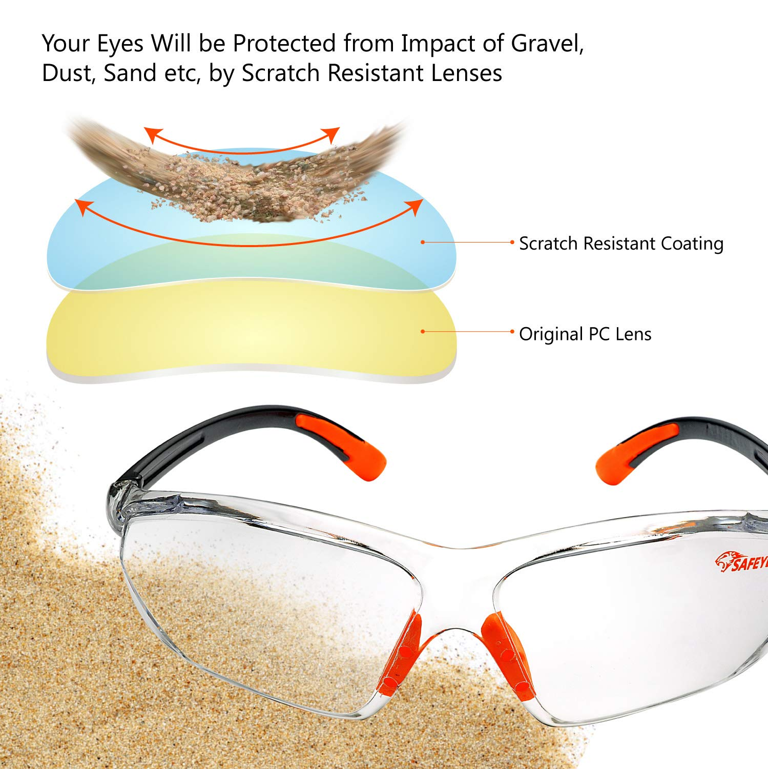 Safeyear Anti-fog Wraparound Safety Glasses SG010 EN166 Mens Safety Goggles UV Protective PPE Airsoft Glasses Women Eye Protection Work,Lab etc Infield Plastic Ladies Airsoft Goggles for DIY Job