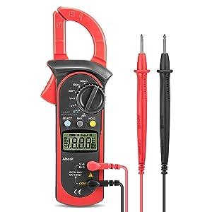 Pinza Multímetro Digital,Abask UT202A Profesional Clamp Meter Corriente AC,Voltaje AC/DC, Amperímetro Voltímetro Ohmímetro Automática Corriente Tensión Frecuencia con Data Holding LCD Retroiluminación
