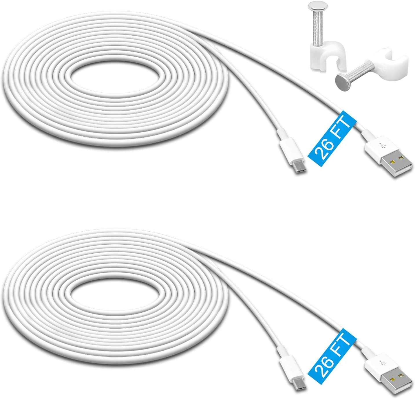 2 Pack 26FT Power Extension Cable for Wyze Cam Pan,WyzeCam,Kasa Cam.YI Dome Home Camera,Furbo Dog,Nest Cam,Oculus Go,Blink,Netvue, Durable Charging and Data Sync Cord for Home Security Camera