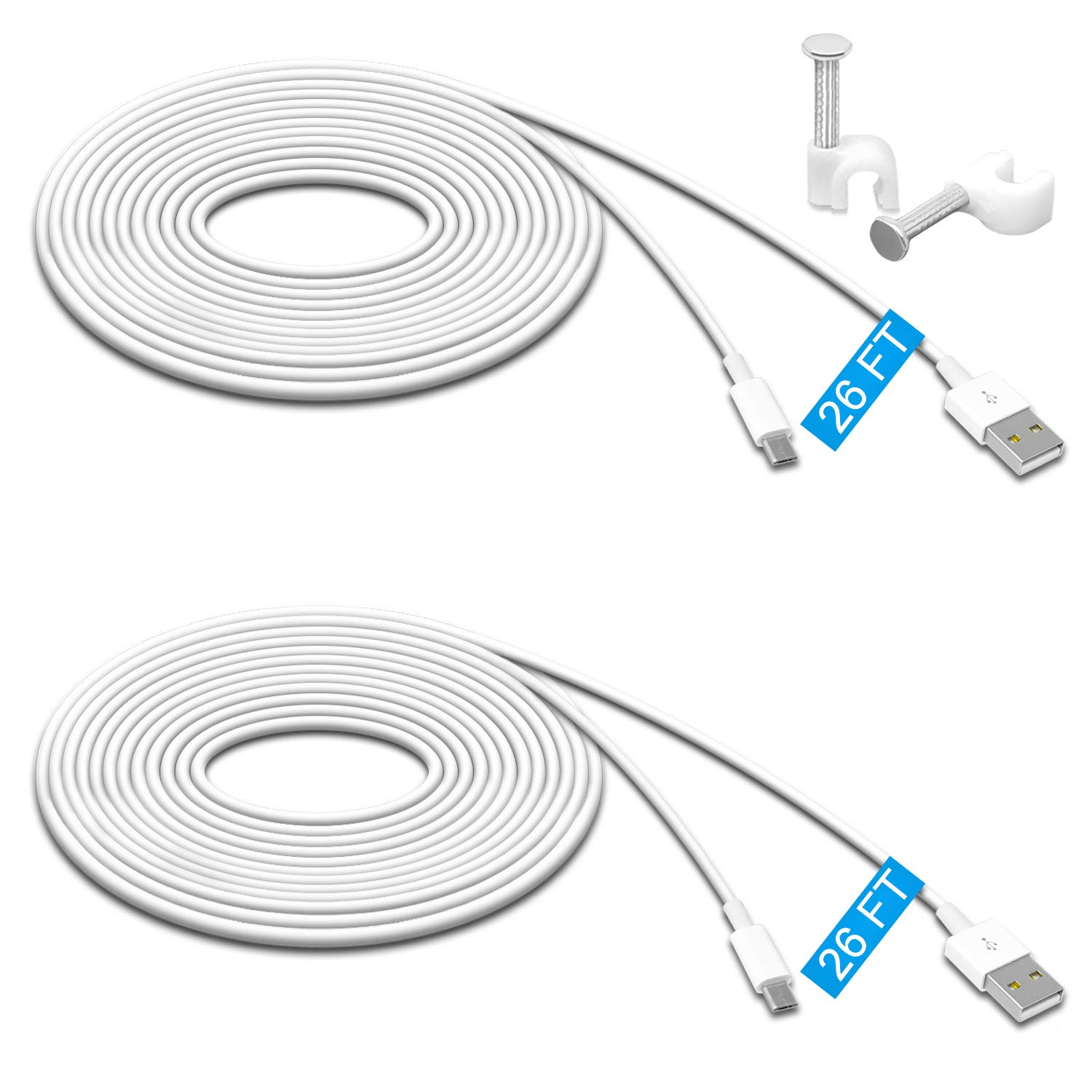 2 Pack 26FT Power Extension Cable for Wyze Cam Pan,WyzeCam,Kasa Cam.YI Dome Home Camera,Furbo Dog,Nest Cam,Oculus Go,Blink,Netvue, Durable Charging and Data Sync Cord for Home Security Camera by MENEEA
