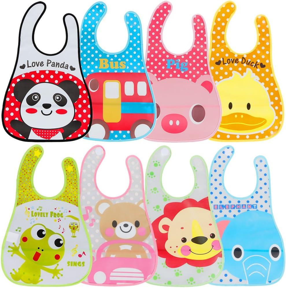 Lictin 8 Unisexos Baberos Impermeable EVA para Bebé con Dibujos Animados para Niños/Niñas de 6 Meses a 6 Años