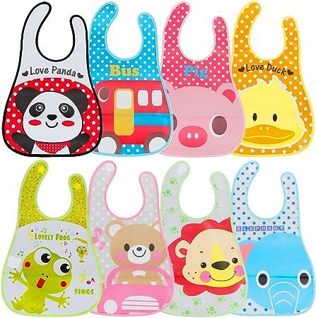Comprar Lictin 8 Unisexos Baberos Impermeable EVA para Bebé con Dibujos Animados para Niños/Niñas de 6 Meses a 6 Años