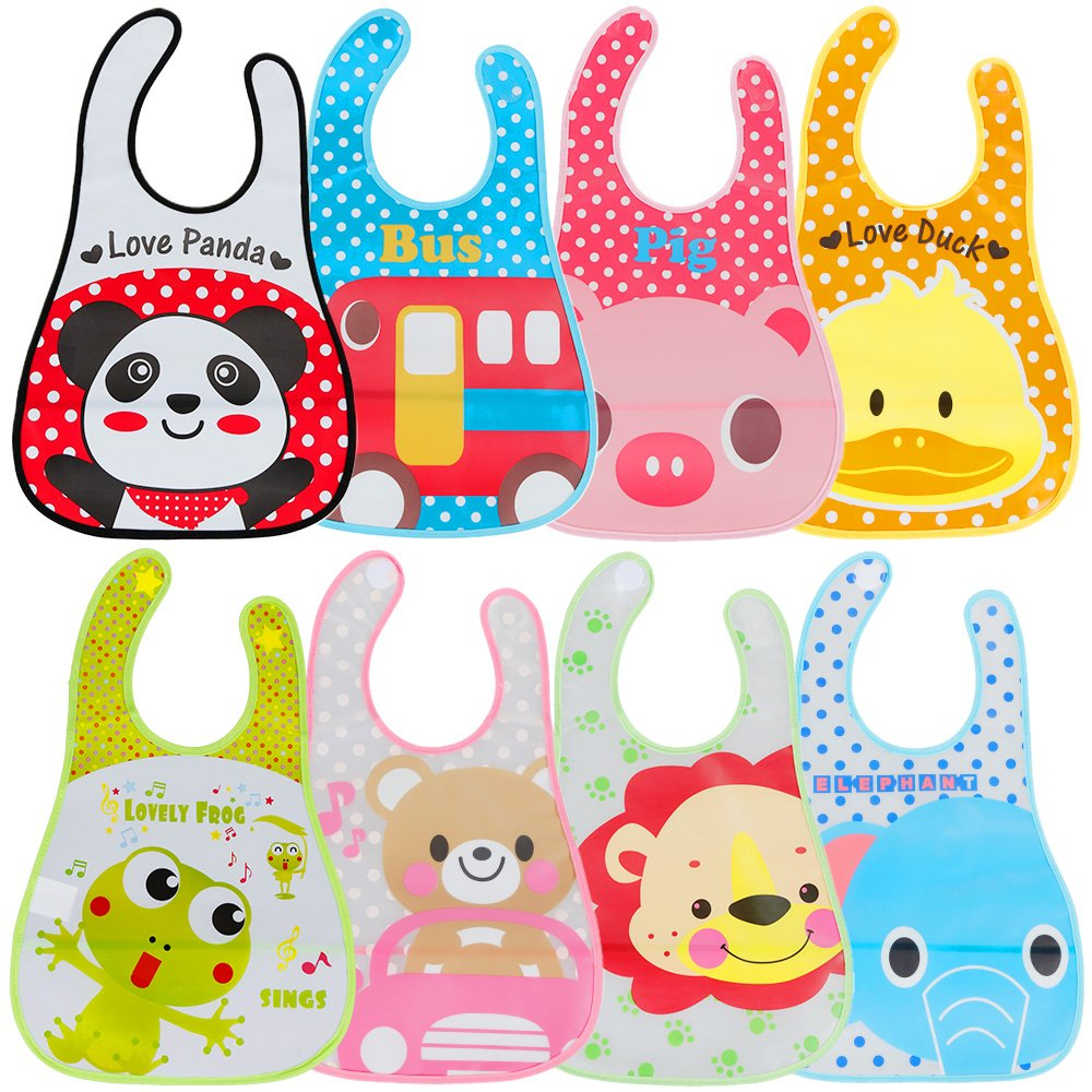 Lictin Baby Bib Set of 8 Waterproof Unisex Baby Bib