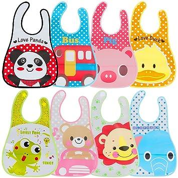 Lictin 8 Pcs Bavoirs Eva Imperméables Unisexes Pour Bébé Avec Des Dessins Animés Pour Les Garçons Filles De 6 Mois à 6 Ans Multicolore