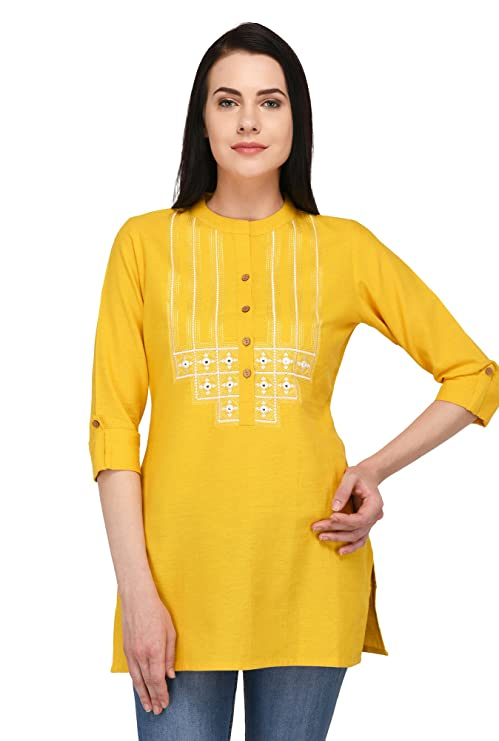 Pistaa's Women's Cotton Embroidered Short Top Plus Size Kurti (Yellow, 50, 4X-Large)