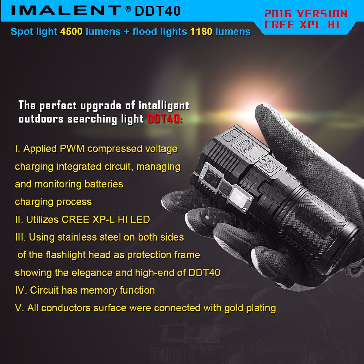 IMALENT DDT40 4500 Lumens +1180 Lumens Handheld LED Flashlight Powered Tactical Flashlight for Camping Hiking (The item can be delivered within 10 days)