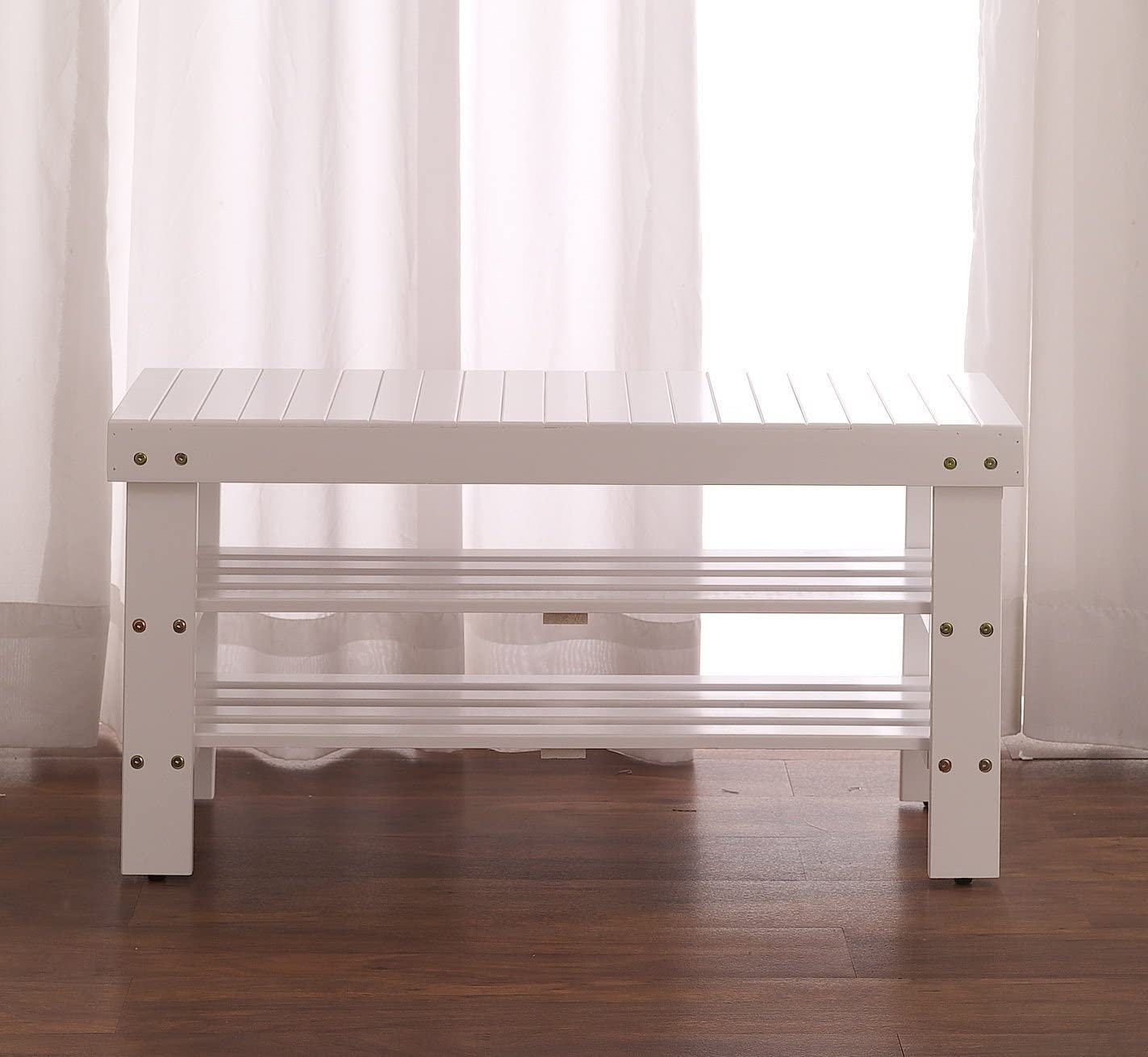 Solid Wood Shoe Bench White