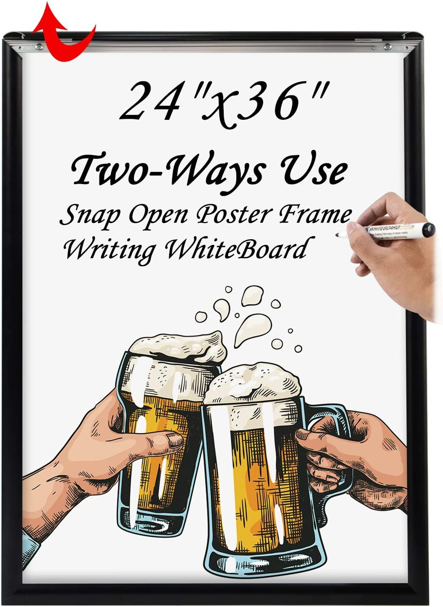 T-SIGN 24 x 36 Inch Poster Frame Front Snap Open Aluminum with White Dry Erase Surface, 1