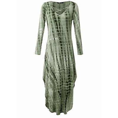 JayJay Company Jay Jay Women Vintage Loose Fit Long Sleeve Split Tie Dye Maxi Long Dress With Pocket