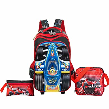 HIGOGOGO 3 Pieces Boys Rolling Backpack Set, 3D Toy Car Wheeled Backpack  with Lunch Bag Pencil Case for Kids Boys Elementary Luggage School  Backpacks 2 ... 75910f5c6b