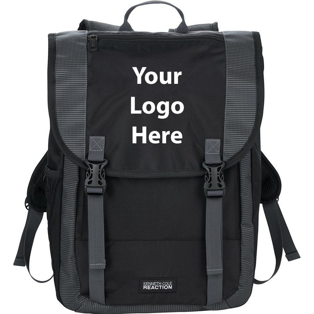 Kenneth Cole Reaction Flapover 17'' Compu Backpack - 6 Quantity - $63.25 Each - PROMOTIONAL PRODUCT / BULK / BRANDED with YOUR LOGO / CUSTOMIZED