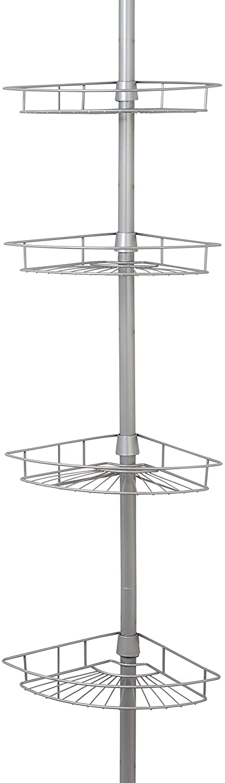 Zenna Home Tension Pole Shower Caddy, Nickel